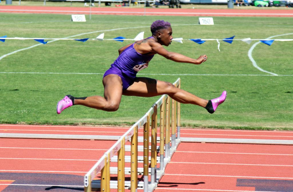 Monisha+Lewis+hurdles+at+CCAA+Championships+in+La+Jolla+on+May+3rd%2C+2019.+Lewis+won+the+100m+hurdles+with+a+lifetime+best+and+the+second-fastest+time+in+the+country.+She+also+placed+2nd+in+the+400m+hurdles+with+a+lifetime+best.