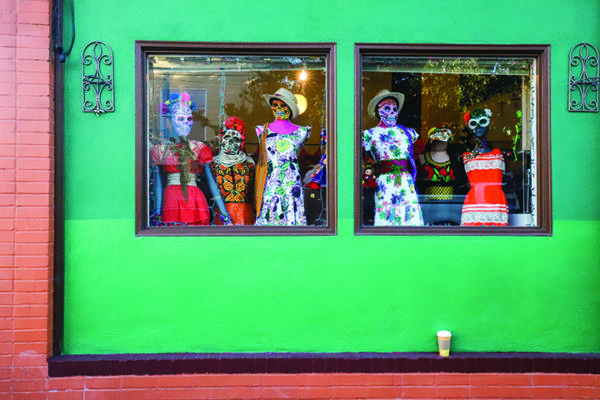 Store-fronts in and around the Mission highlight the fashion of Dia de los Muertos at Potrero Del Sol Park during the Mission District's celebration of Dia de los Muertos on November 2, 2019. (Photo by Camille Cohen / Golden Gate Xpress)