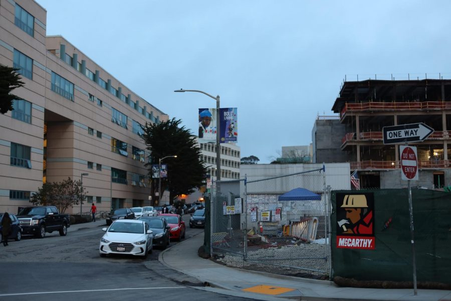 The new $81 million LCA building will provide the BECA department with a KSFS radio station, two TV studios, a huge media presentation room and more once it opens in Spring 2021, but the Journalism Department across the street has no future classes or offices in that building. (Shaylyn Martos/Golden Gate Xpress)