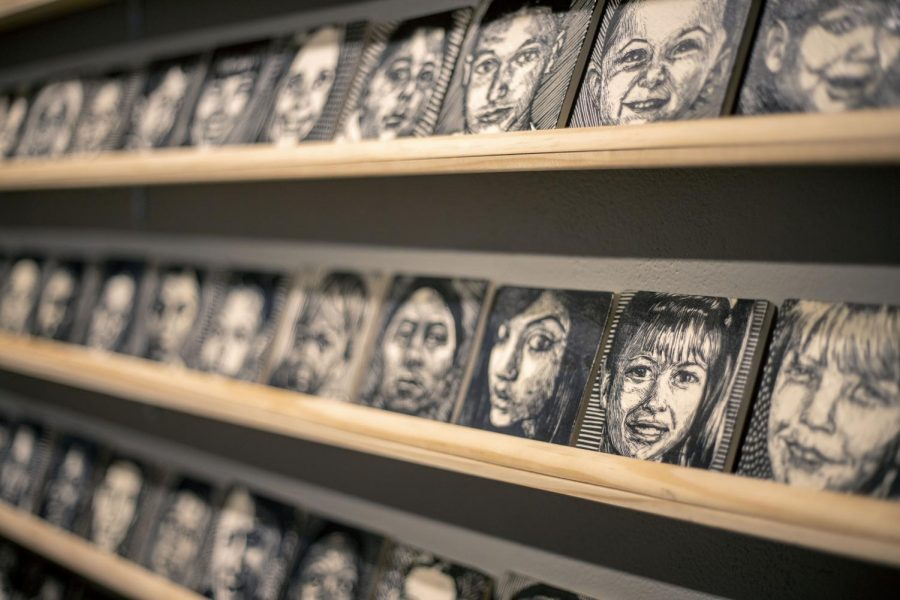 Art is displayed on the walls of Spark Arts in San Francisco Calif., on Thursday Feb 6, 2020. (Emily Curiel / Golden gate Xpress)