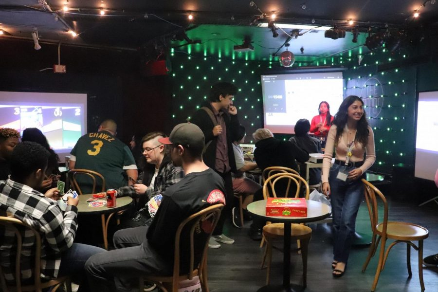 SF State students taking part at Be My Player 2 event held at The Depot to celebrate Valentine's Day in a new and inclusive way. (Pamela Estrada / Golden Gate Xpress)