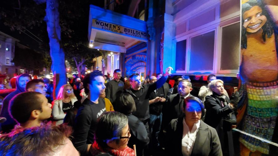 Scott+Presler+speaks+to+%23WalkAway+supporters+in+front+of+The+Women%E2%80%99s+Building+on+Feb.+1+%28Photo+by+Andrew+R.+Leal%2F+Golden+Gate+Xpress%29