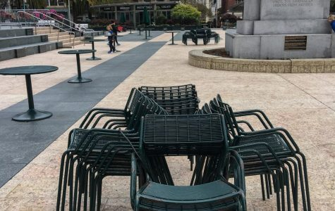 Chairs in Union Square locked together preventing people from sitting in groups, photographed in San Francisco, Calif. (Maddison October / Golden Gate Xpress)