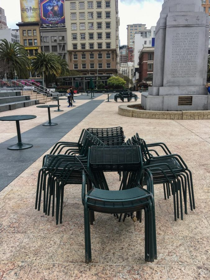 Chairs+in+Union+Square+locked+together+preventing+people+from+sitting+in+groups%2C+photographed+in+San+Francisco%2C+Calif.+%28Maddison+October+%2F+Golden+Gate+Xpress%29