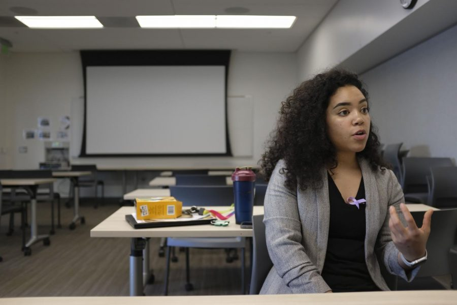 """Brittney Holloman, Fitness and Wellness Coordinator at Mashouf Wellness Center, explaining more into depth about her presentation on """"Black Wellness"""" on Feb. 27th, 2020. (Tahjai Chan / Golden Gate Xpress)"""