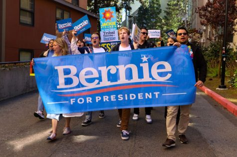 Students and organizers of the Bernie Sanders rally march through campus on Monday, March 2, 2020. (Saylor Nedelman / Golden Gate Xpress)