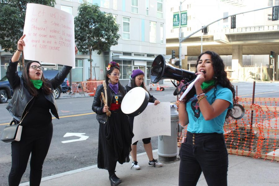 Dulce+Lopez+an+Alumni+at+UC+Berkeley+rallying+her+team+up%2C+to+strike+against+women+brutality.+