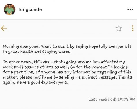 The first social media post on Pamela Estradas Instagram feed to indicate that employees are being impacted by COVID-19 goes up by Steven Conde.