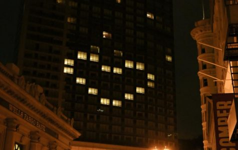 Office building above Equinox, lit up its windows to create a heart facing Market Street to show solidarity during these times of uncertainty. (Dyanna Calvario / Golden Gate Xpress)