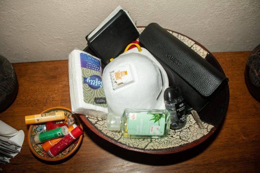 The October family's key table is now filled with hand sanitizers, tissues and face masks, as a reminder to take them with when they leave the house. (Maddison October / Golden Gate Xpress)