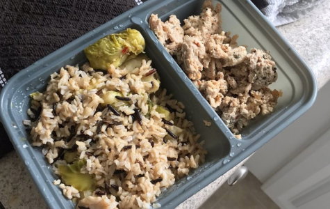 Ground turkey mixed with rice and vegetables for one of Williams meals during quarantine.