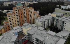 A student housing complex, the towers and the village at Centennial Square, on SF State's campus.