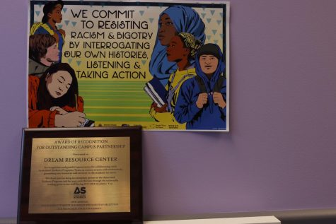 An award of recognition sits on a desk shelf in the Dream Resource Center at SF State in San Francisco California on Wednesday April 17, 2019. (Emily Curiel)