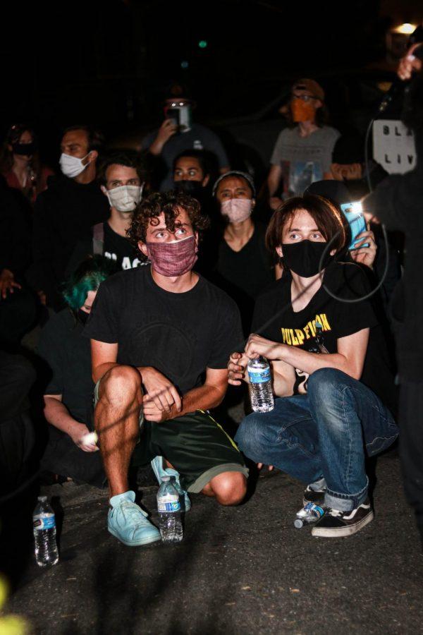 Protestors take a knee towards the end of the march, in Walnut Creek, Calif., on Jun. 17, 2020 (Harika Maddala / Golden Gate Xpress)