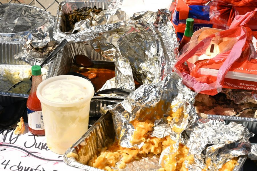 Soul Food ready to be served is spread out on a table during a Juneteenth celebration organized in San Francisco, Calif., on June 19, 2020. (James Wyatt / Golden Gate Xpress)