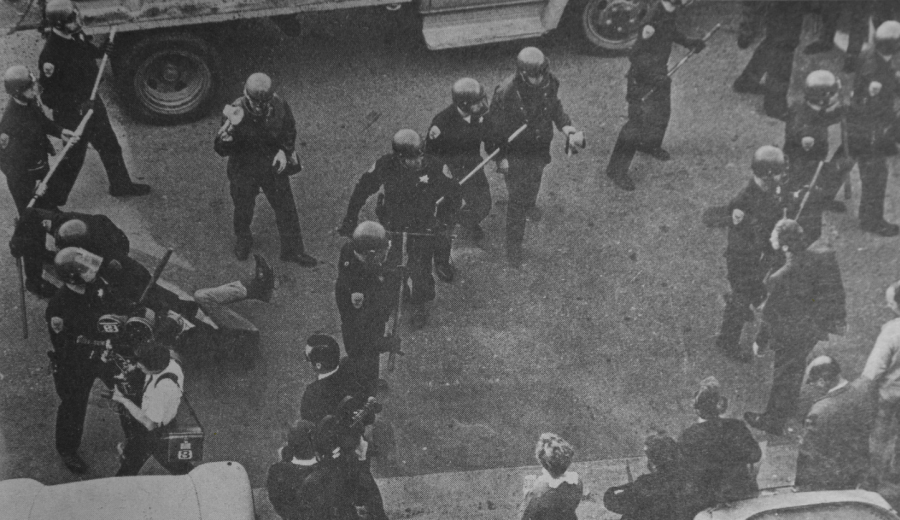 Police officers gather during a protest on SF State's campus in 1969.  (Unknown Photographer / Golden Gate Xpress Archives)