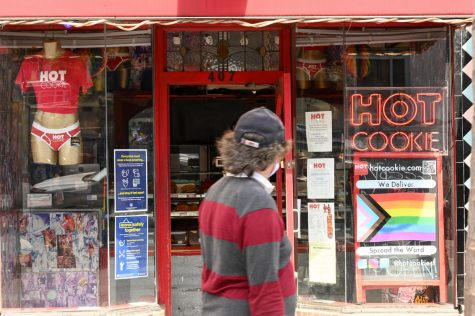 A pedestrian walks by Hot Cookie in the Castro district. (James Wyatt / Golden Gate Xpress / San Francisco, Calif. July 29, 2020)