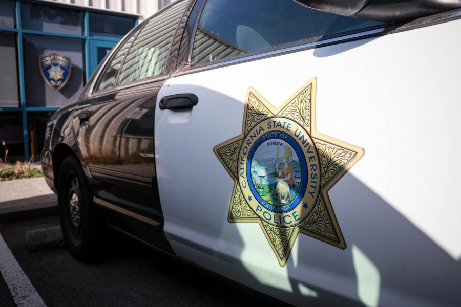 A police car sits in front of the UPD station on June 2, 2020 (Harika Maddala / Golden Gate Xpress)