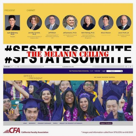 "A photo posted by the California Faculty Association San Francisco State Chapter to their Facebook page on July 2. ""Enough! The CFA-SFSU Executive Board insists that white supremacy at the people's university must end,"" the photo"