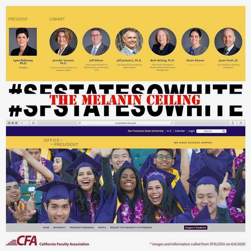 A+photo+posted+by+the+California+Faculty+Association+San+Francisco+State+Chapter+to+their+Facebook+page+on+July+2.+%22Enough%21+The+CFA-SFSU+Executive+Board+insists+that+white+supremacy+at+the+people%E2%80%99s+university+must+end%2C%22+the+photo%27s+caption+reads+on+the+page.++