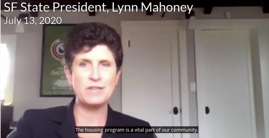 SF State President Lynn Mahoney speaks on reasoning for $9 million worth of CARES Act funding on student housing. (Siobhan Eagen / Golden Gate Xpress)
