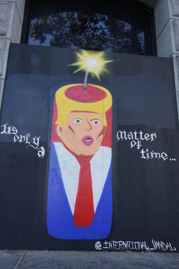 A graffiti piece with a political spin on Donald Trump by @international_vandal found on South 2nd Street. (Daniel Da Silveira /Golden Gate Xpress/San Jose Calif. June 25, 2020)