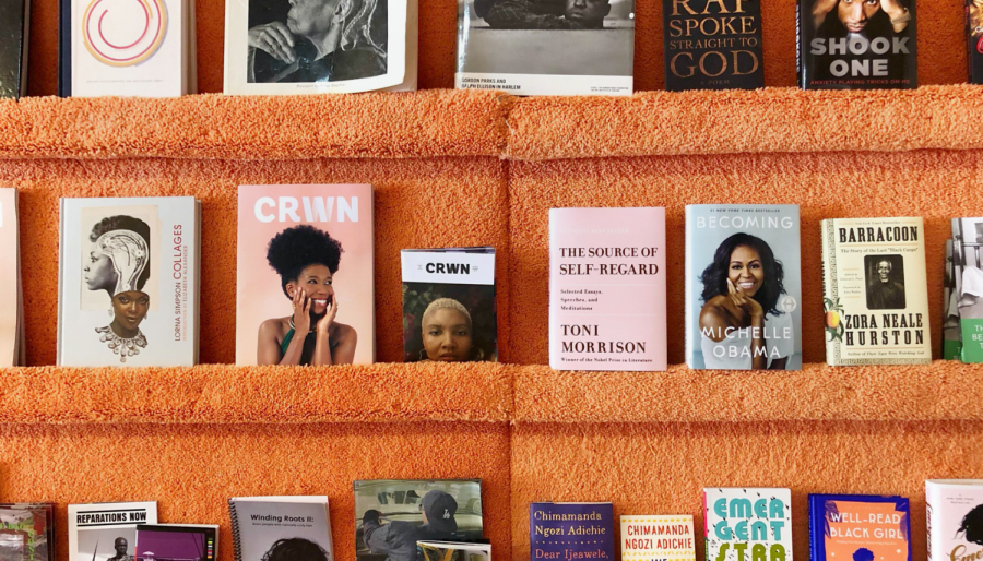 A collection of books by notable Black authors and scholars displayed on the store's shelves. (Jazzi McGilbert/Courtesy photo for publish with Golden Gate Xpress)