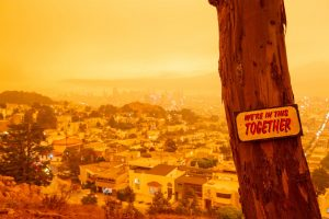 """A sign with the words """"We're in this together"""" stands in front of an orange covered city view from Tank Hill (Golden Gate Xpress San Francisco, CA., Sept. 9, 2020)"""
