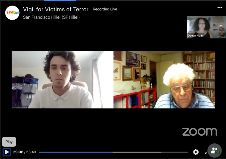 Uri Bar-Lev participated in SF Hillel's vigil for victims of terror in a pre-recorded video in which he is interviewed by SF Hillel member Garrett Fornander (Joel Umanzor Jr./ Golden Gate Xpress)