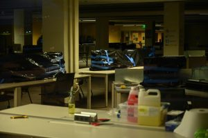 Computers at the study commons inside the J. Paul Leonard Library at SF State are covered and taped with black trash bags to protect them from contamination on Aug. 25, 2020 in San Francisco. (Dyanna Calvario/ Golden Gate Xpress)