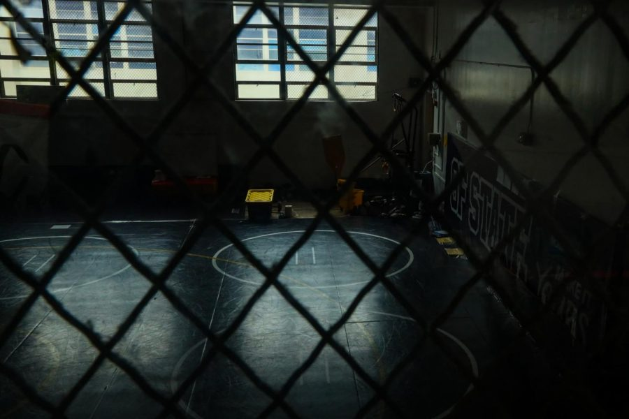 The empty wrestling gymat the Don Nasser Family Plaza is seen through the window at SF Statecampus. The university halted all sports team activities for the Fall 2020 semester due to the pandemic. (Dyanna Calvario / Golden Gate Xpress)