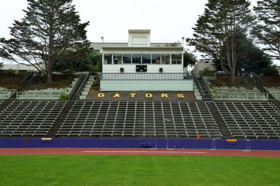 An empty track and field at SF State. The university halted all sports team activities for the Fall 2020 semester due to the pandemic. (Dyanna Calvario / Golden Gate Xpress)