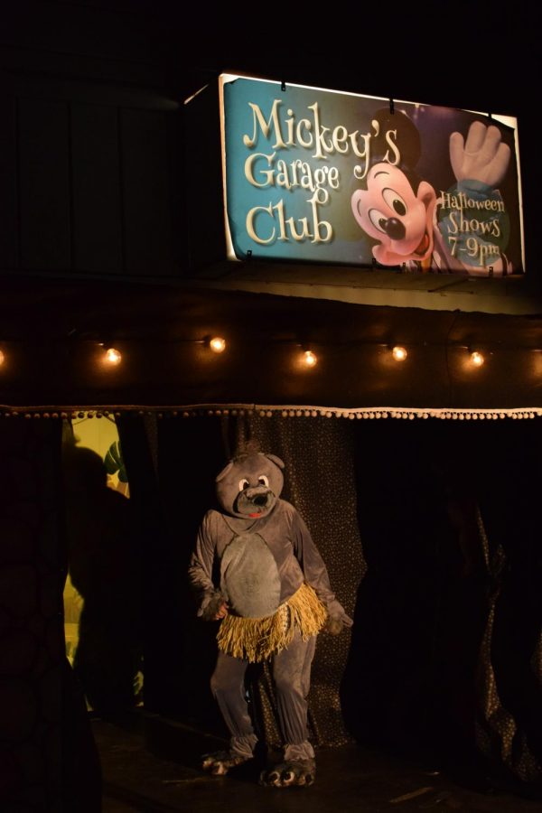 Baloo performs 'I Want to Be Like You' from 'The Jungle Book,' at Macowell's annual Halloween garage skit. (Leila Figueroa / Golden Gate Xpress)