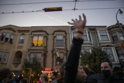 Bay Area residents took to the streets in the Castro District to celebrate Joe Biden and Kamala Harris' election victory on Nov. 7, 2020. (Emily Curiel / Golden Gate Xpress)