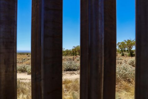 View of Mexico from behind a recently constructed border wall section on July 24, 2020 (Camille Cohen / Golden Gate Xpress)