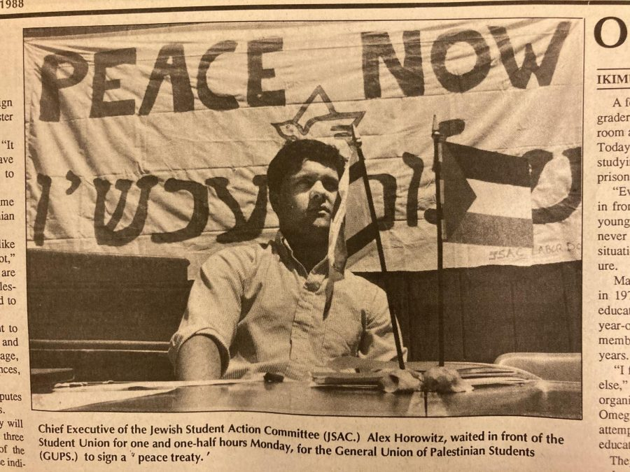 Jewish Student Action Committee Chief Executive Alex Horovitz waited in front of the Student Union for one and one-half hours for the General Union of Palestine Students to sign a peace treaty. (Golden Gater 1988)