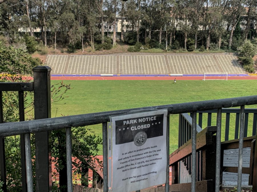 The Cox Stadium remains closed with a notice blocking the stairs at SF State (Ricardo Olivares / Golden Gate Xpress)