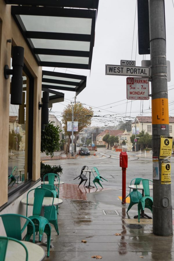 Squat and Gobble shuts down their outdoor dining after rain impacts their West Portal location in San Francisco on Nov. 14, 2020. (Dyanna Calvario / Golden Gate Xpress)