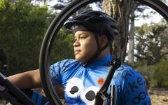 "Saroum Verng, a business student at SF State, began cycling due to COVID-19. ""It helped relieve my stress and keep me occupied since school went online,"" said Verng in Golden Gate Park in San Francisco on Dec. 6, 2020. (Katherine Burgos / Golden Gate Xpress)"