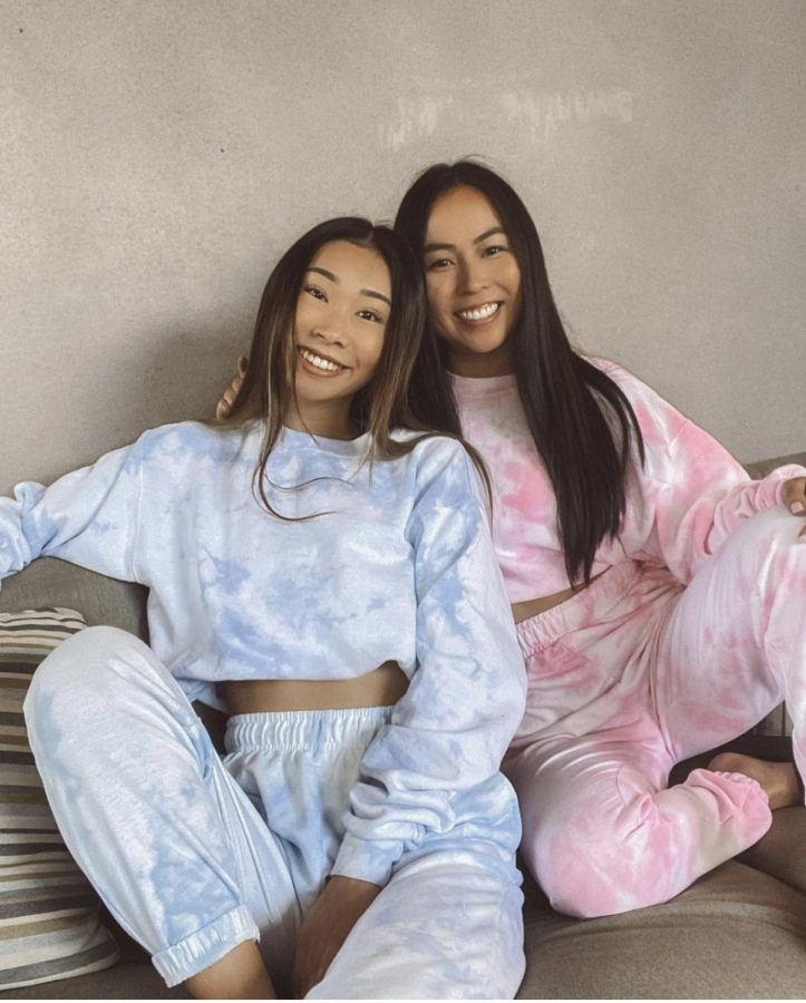 Creators and owners of Dreamy Dyes Co., Leanne Doung and Kelsey Yamashiro, seen wearing their sweat sets in pink and blue. (Photo courtesy of Dreamy Dyes Co.)