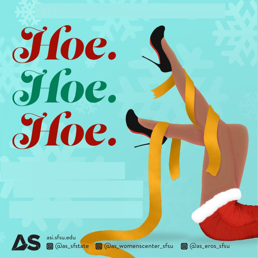 This year's Hoe Hoe Hoe promotional flyer also served as a conversation started at the event. The drawing depicts legs dressed in the skirt, often the subject of slut-shaming and a broken ribbon to represent breaking the stigma of the word slut. Photo courtesy of Associated Students.
