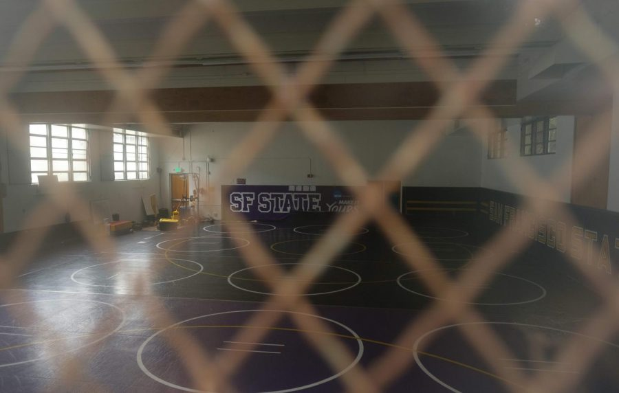 The wrestling gym at San Francisco State University. The stories the mats could tell during Coach Lars Jensen's 33 year tenure. (Cameron Lee / Golden Gate Xpress)