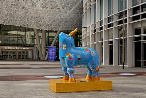 Ancient Technology Ox is installed at Salesforce for Chinese New Year in San Francisco, CA., on February 8, 2020. The statue is one of eleven ox sculptures located around San Francisco and Oakland to celebrate year of the Ox. (Sabita Shrestha / Golden Gate Xpress)