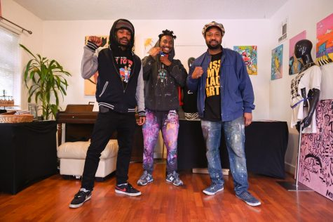 (Matteo Davinci, Shido, and Rtystk Shavers in the KMBA studio in Oakland on Feb. 19. (Samantha Laurey / Golden Gate Xpress)
