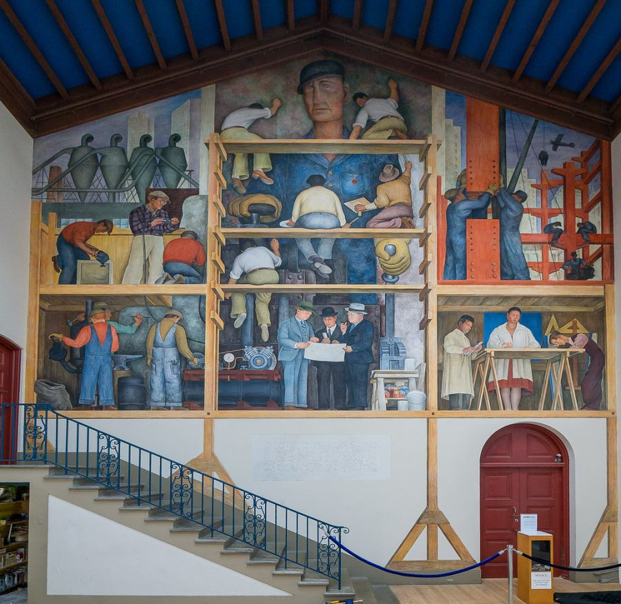 The Making of a Fresco Showing the Building of a City, mural by Diego Rivera, San Francisco. (Jay Galvin / Creative Commons)