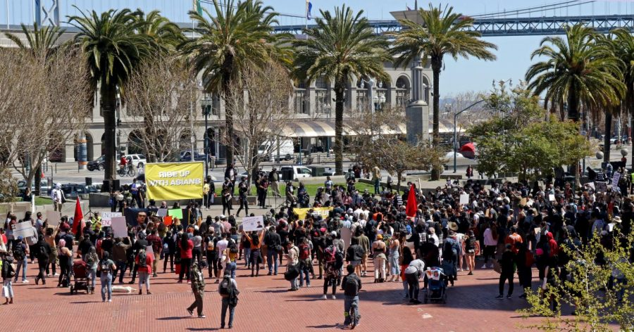 Demonstrators gather in Embarcadero Plaza for Rise Up With Asians rally. (Sabita Shrestha / Golden Gate Xpress)