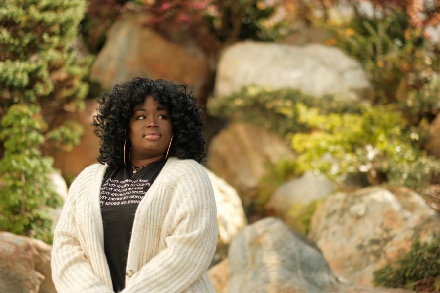 Amarachi Nnodim, SF State nursing student, sits for a portrait at SF State on Feb. 25, 2021. Nnodim has witnessed disparities in the medical field, and like others, hopes to promote equitable care. (Cameron Lee / Golden Gate Xpress)