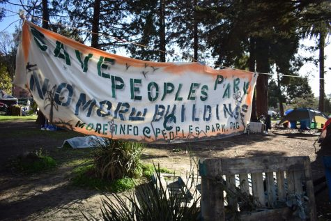 Occupiers posted tents on top of the NorthEast corner after the University cleared a corner of People's Park for soil sampling on February 8. More information of the organizing can be found at linktr.ee/peoplespark. (Lucky Whitburn-Thomas / Golden Gate Xpress)