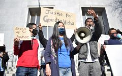 Organizer Jerry Raburn (left), United Peace Collaborative founder Leanna Louie (center), and filmmaker Kevin Epps speak at the 'Rally for Justice' on Thursday, Hall of Justice 850 Bryant St. (Lucky Whitburn-Thomas / Golden Gate Xpress)