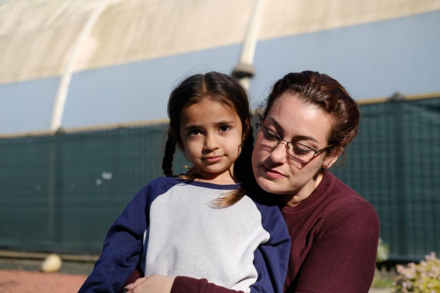 Janiece Oropeza (left) and mother Janice Marie Garcia (right) pose for a portrait at SF State Children's Campus on March 5, 2021. (Avery Wilcox / Golden Gate Xpress)